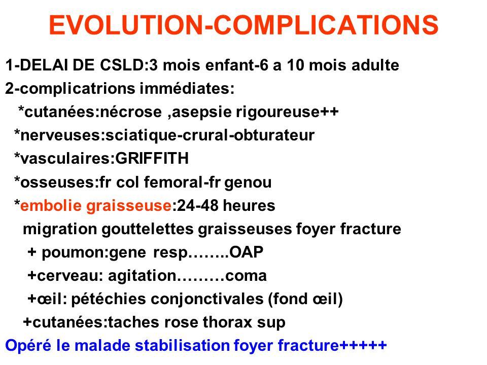 EVOLUTION-COMPLICATIONS 1-DELAI DE CSLD:3 mois enfant-6 a 10 mois adulte 2-complicatrions immédiates: *cutanées:nécrose,asepsie rigoureuse++ *nerveuse