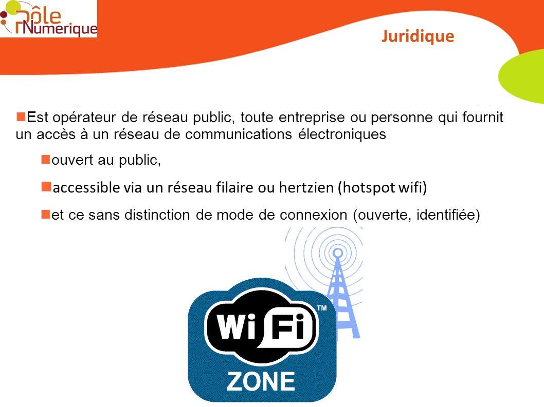 Juridique Est opérateur de réseau public, toute entreprise ou personne qui fournit un accès à un réseau de communications électroniques ouvert au publ