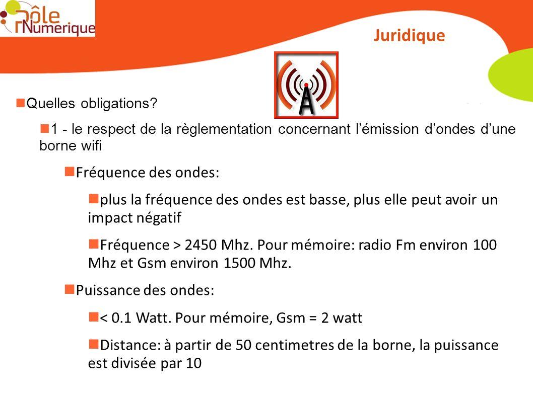 Juridique Quelles obligations? 1 - le respect de la règlementation concernant lémission dondes dune borne wifi Fréquence des ondes: plus la fréquence