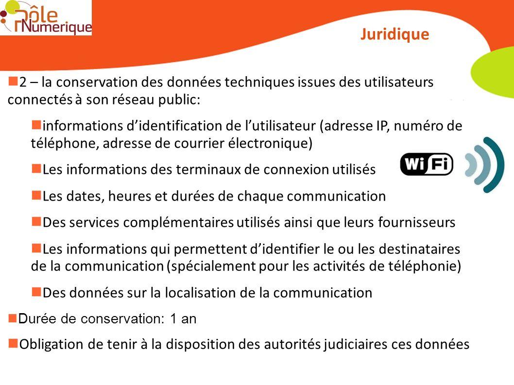 Juridique 2 – la conservation des données techniques issues des utilisateurs connectés à son réseau public: informations didentification de lutilisate