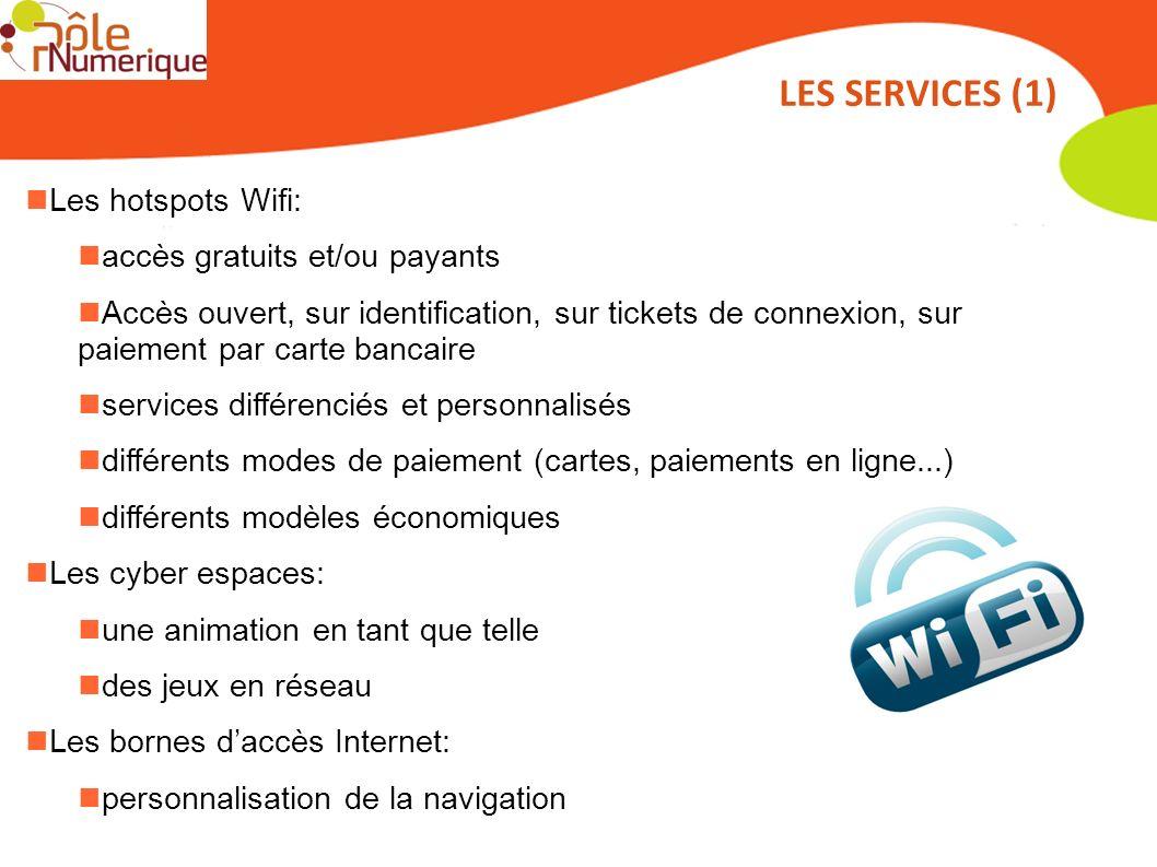 Les hotspots Wifi: accès gratuits et/ou payants Accès ouvert, sur identification, sur tickets de connexion, sur paiement par carte bancaire services d
