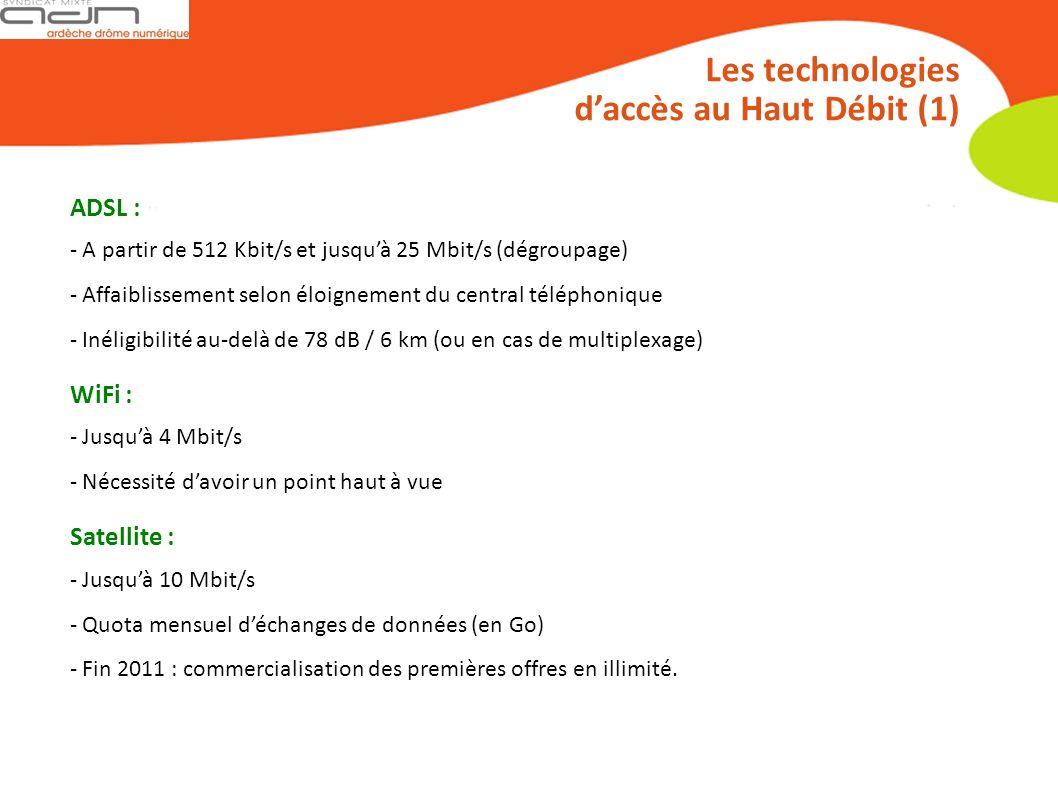Les technologies daccès au Haut Débit (1) ADSL : - A partir de 512 Kbit/s et jusquà 25 Mbit/s (dégroupage) - Affaiblissement selon éloignement du central téléphonique - Inéligibilité au-delà de 78 dB / 6 km (ou en cas de multiplexage) WiFi : - Jusquà 4 Mbit/s - Nécessité davoir un point haut à vue Satellite : - Jusquà 10 Mbit/s - Quota mensuel déchanges de données (en Go) - Fin 2011 : commercialisation des premières offres en illimité.