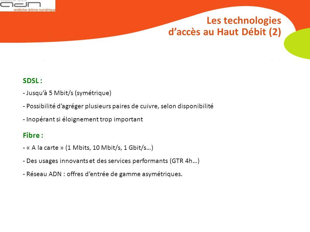 Les technologies daccès au Haut Débit (2) SDSL : - Jusquà 5 Mbit/s (symétrique) - Possibilité dagréger plusieurs paires de cuivre, selon disponibilité - Inopérant si éloignement trop important Fibre : - « A la carte » (1 Mbits, 10 Mbit/s, 1 Gbit/s…) - Des usages innovants et des services performants (GTR 4h…) - Réseau ADN : offres dentrée de gamme asymétriques.