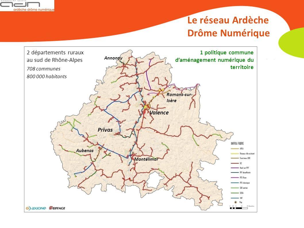 2 départements ruraux au sud de Rhône-Alpes Le réseau Ardèche Drôme Numérique 708 communes 800 000 habitants Annonay Privas Aubenas Romans-sur- Isère Valence Montélimar 1 politique commune daménagement numérique du territoire