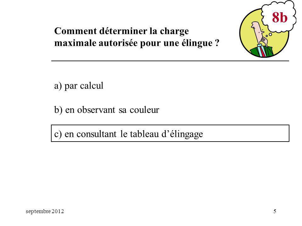 septembre 20125 a) par calcul b) en observant sa couleur c) en consultant le tableau délingage 8b Comment déterminer la charge maximale autorisée pour une élingue ?