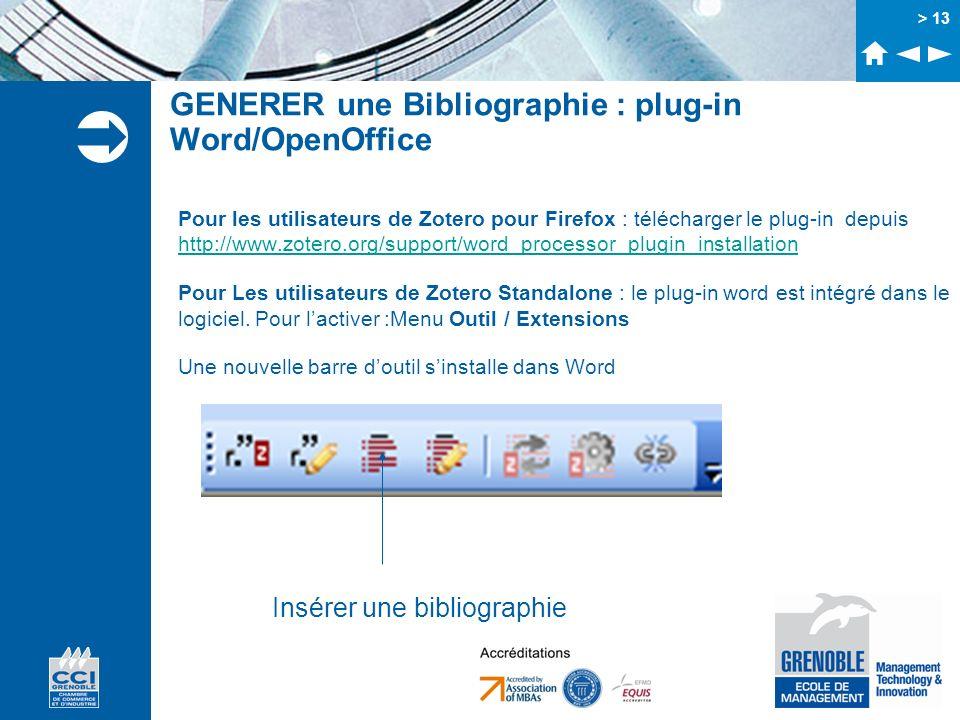 > 13 GENERER une Bibliographie : plug-in Word/OpenOffice Pour les utilisateurs de Zotero pour Firefox : télécharger le plug-in depuis http://www.zoter