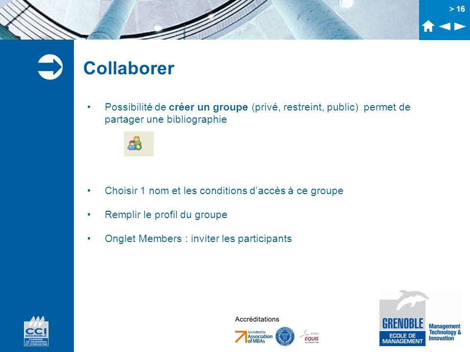 > 16 Collaborer Possibilité de créer un groupe (privé, restreint, public) permet de partager une bibliographie Choisir 1 nom et les conditions daccès
