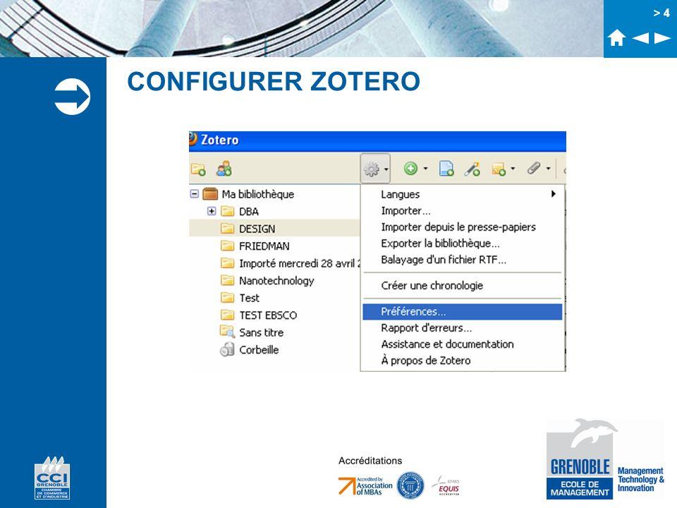 > 5 CONFIGURER Personnaliser lapparence Configurer le compte à utiliser pour la synchronisation Activer ou non lindexation des pdf Paramétrage de lexport Ajout de styles bibliographiques IMPORTANT : Localisation du stockage de la base