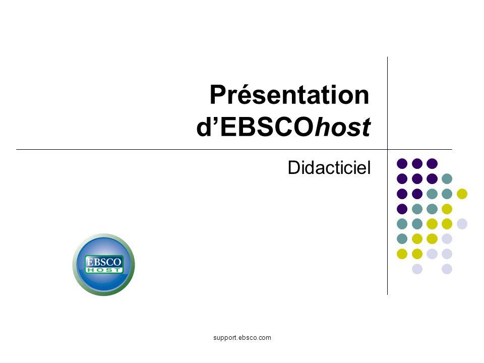 support.ebsco.com Présentation dEBSCOhost Didacticiel