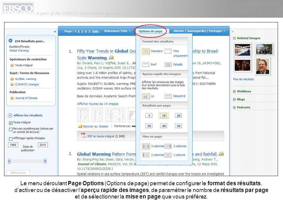 Le menu déroulant Page Options (Options de page) permet de configurer le format des résultats, dactiver ou de désactiver laperçu rapide des images, de
