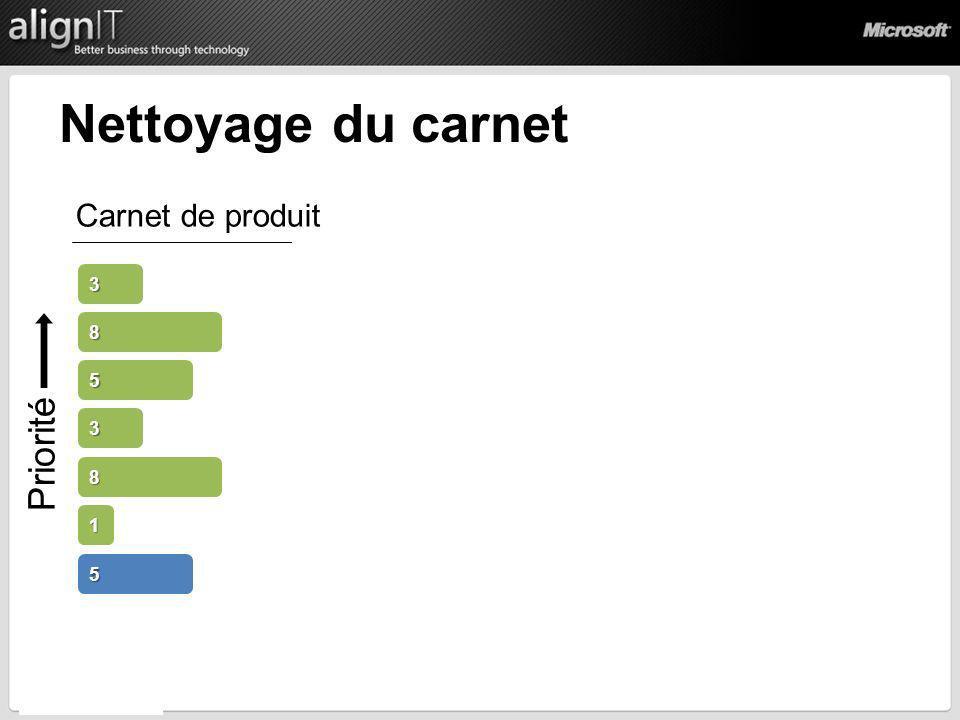 Priorité Nettoyage du carnet 5 3 8 3 Carnet de produit 1 8 5