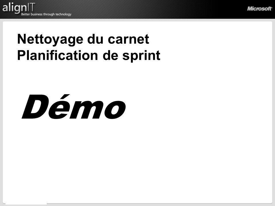 Nettoyage du carnet Planification de sprint Démo