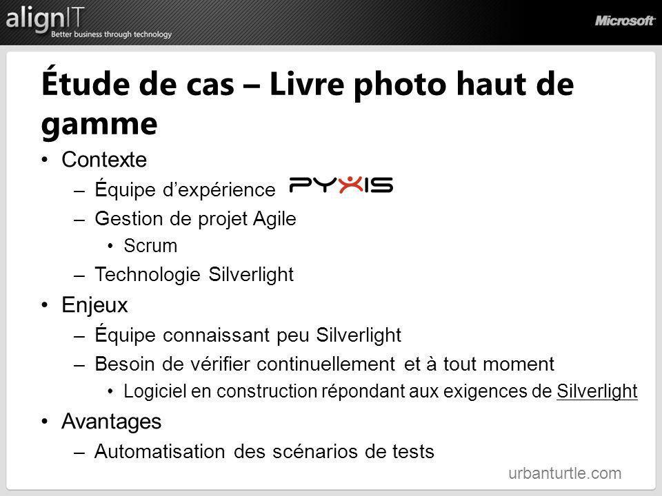 Étude de cas – Livre photo haut de gamme Contexte –Équipe dexpérience –Gestion de projet Agile Scrum –Technologie Silverlight Enjeux –Équipe connaissa