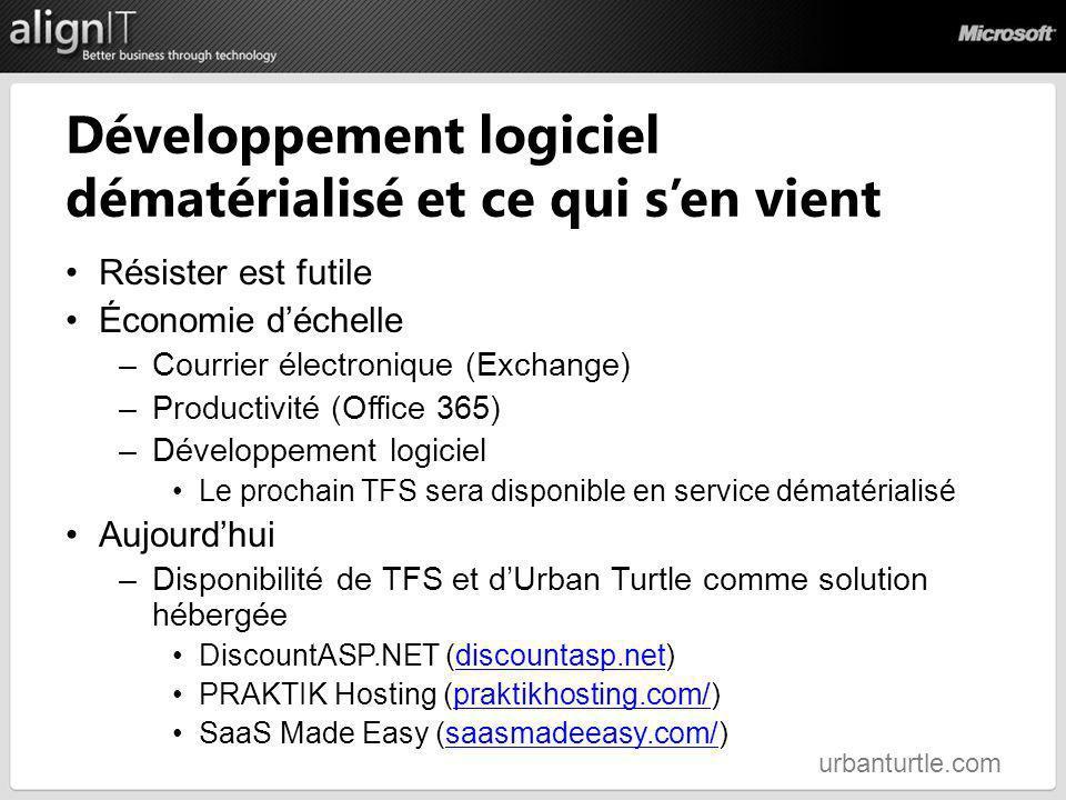 Développement logiciel dématérialisé et ce qui sen vient Résister est futile Économie déchelle –Courrier électronique (Exchange) –Productivité (Office