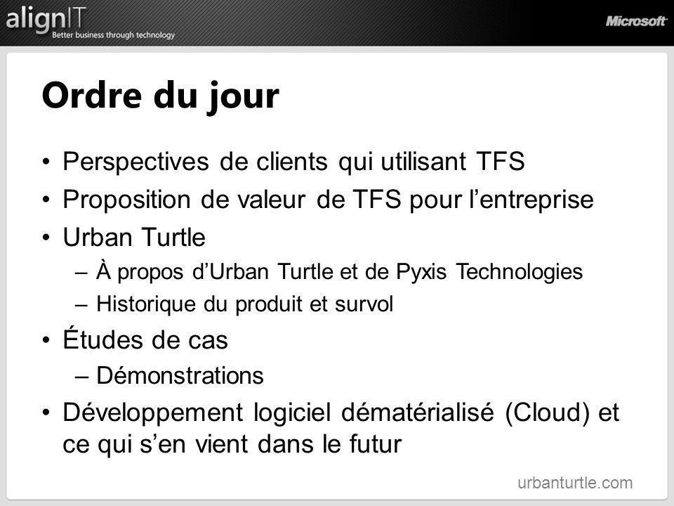 Ordre du jour Perspectives de clients qui utilisant TFS Proposition de valeur de TFS pour lentreprise Urban Turtle –À propos dUrban Turtle et de Pyxis