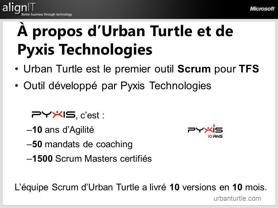 À propos dUrban Turtle et de Pyxis Technologies Urban Turtle est le premier outil Scrum pour TFS Outil développé par Pyxis Technologies, cest : –10 an