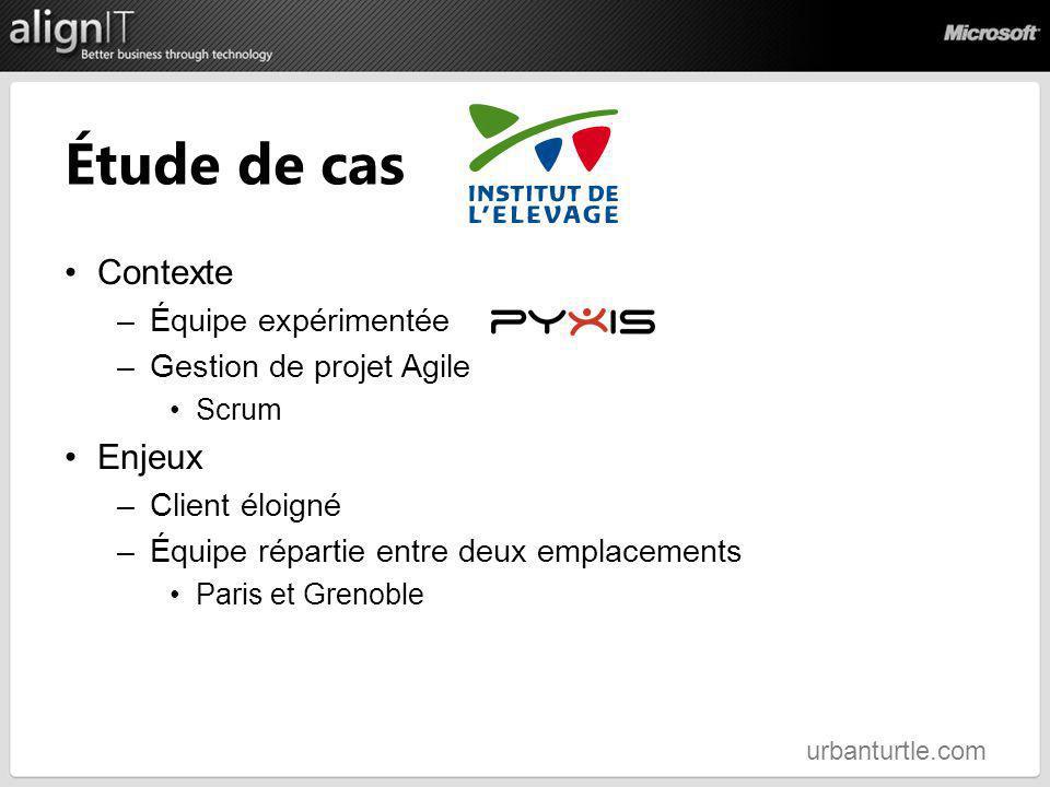 Étude de cas Contexte –Équipe expérimentée –Gestion de projet Agile Scrum Enjeux –Client éloigné –Équipe répartie entre deux emplacements Paris et Gre