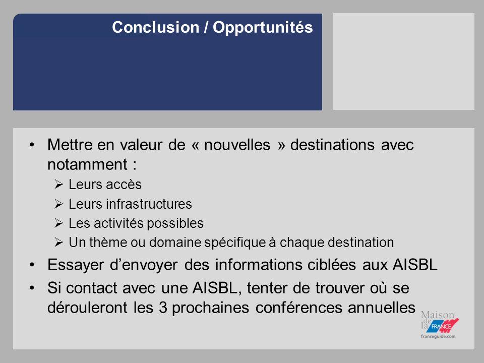 Conclusion / Opportunités Mettre en valeur de « nouvelles » destinations avec notamment : Leurs accès Leurs infrastructures Les activités possibles Un