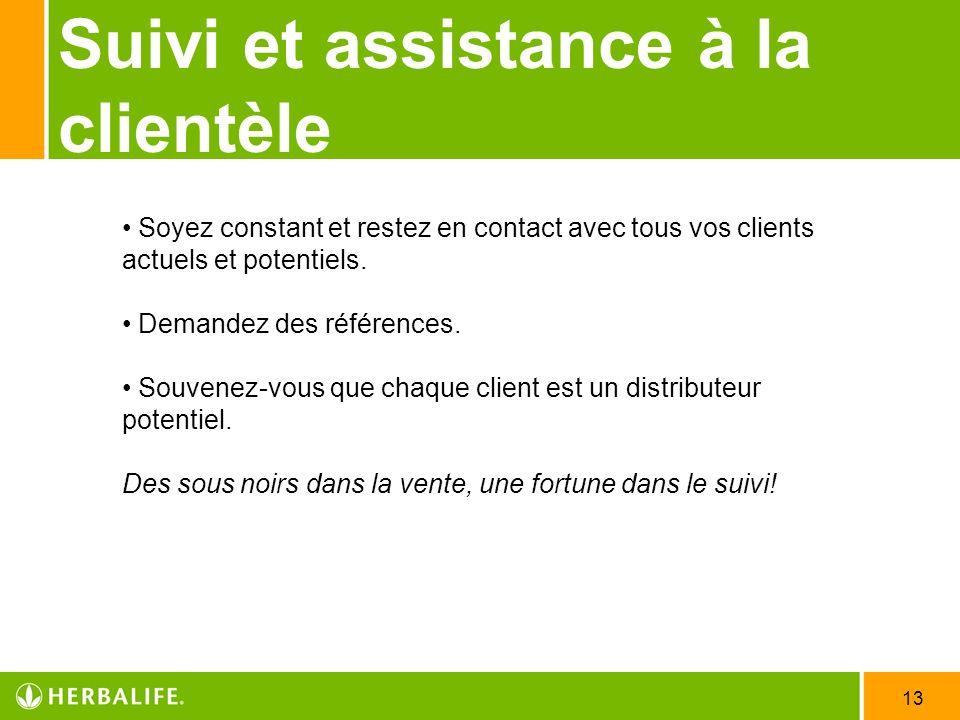 13 Suivi et assistance à la clientèle Soyez constant et restez en contact avec tous vos clients actuels et potentiels. Demandez des références. Souven