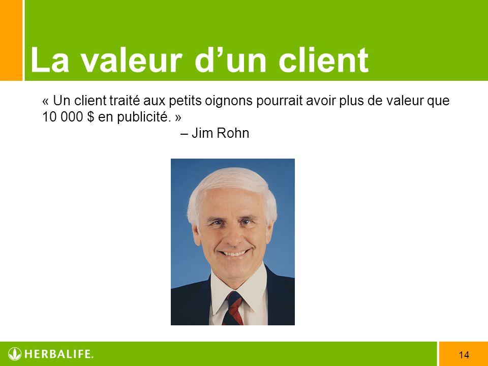 14 La valeur dun client « Un client traité aux petits oignons pourrait avoir plus de valeur que 10 000 $ en publicité. » – Jim Rohn