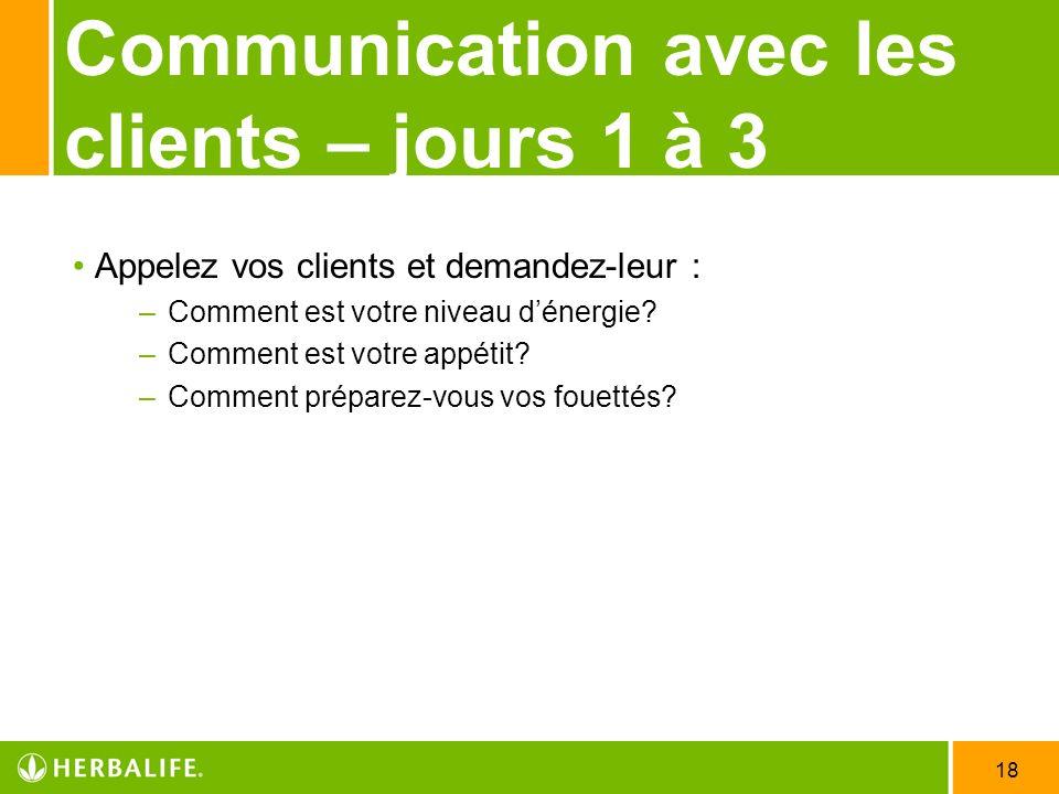 18 Communication avec les clients – jours 1 à 3 Appelez vos clients et demandez-leur : – Comment est votre niveau dénergie? – Comment est votre appéti