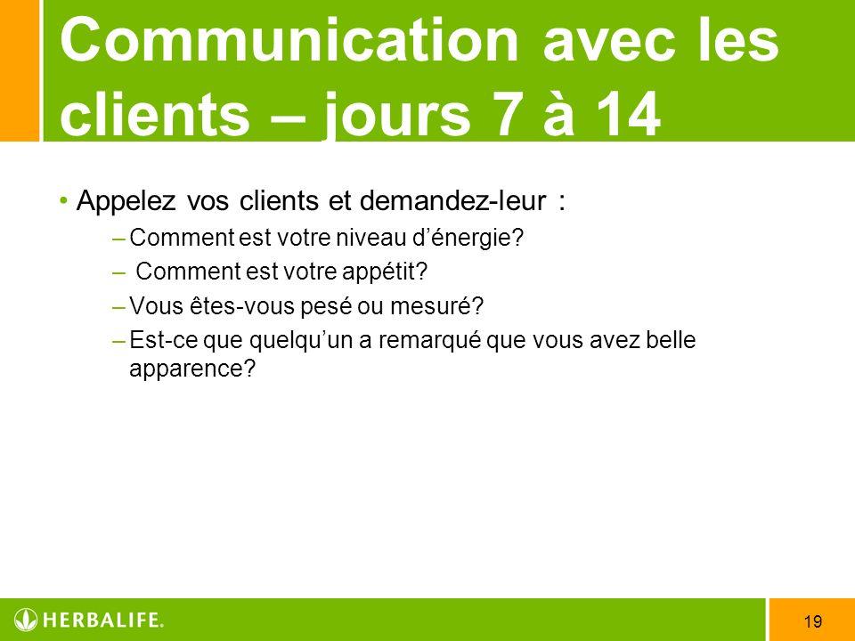 19 Communication avec les clients – jours 7 à 14 Appelez vos clients et demandez-leur : –Comment est votre niveau dénergie? – Comment est votre appéti
