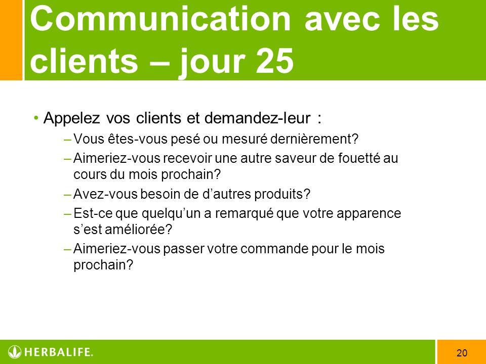 20 Communication avec les clients – jour 25 Appelez vos clients et demandez-leur : –Vous êtes-vous pesé ou mesuré dernièrement? –Aimeriez-vous recevoi