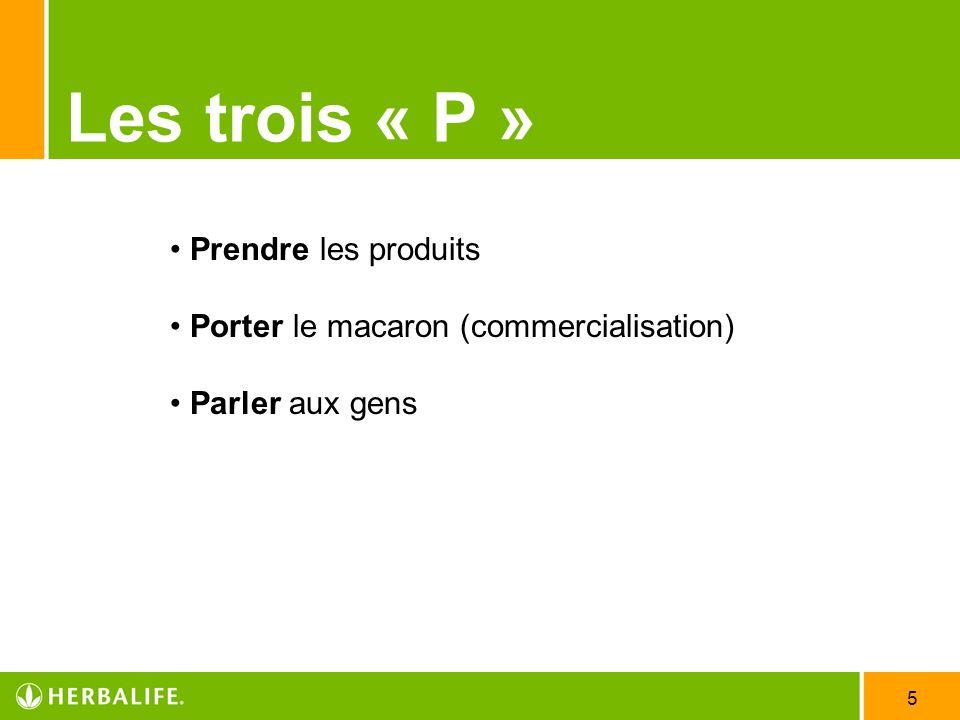 5 Les trois « P » Prendre les produits Porter le macaron (commercialisation) Parler aux gens