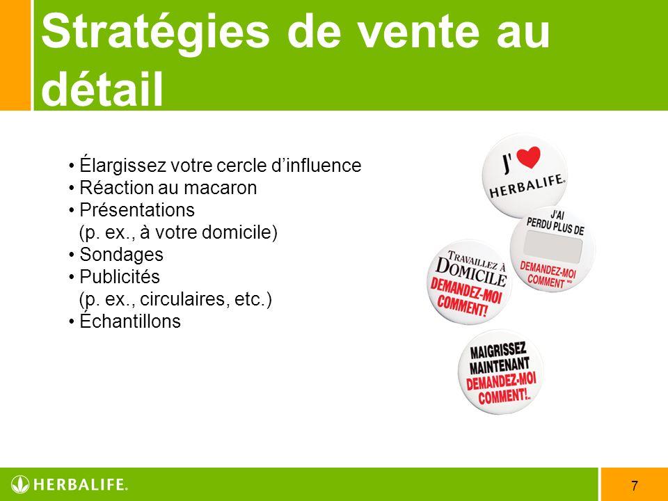 7 Stratégies de vente au détail Élargissez votre cercle dinfluence Réaction au macaron Présentations (p. ex., à votre domicile) Sondages Publicités (p
