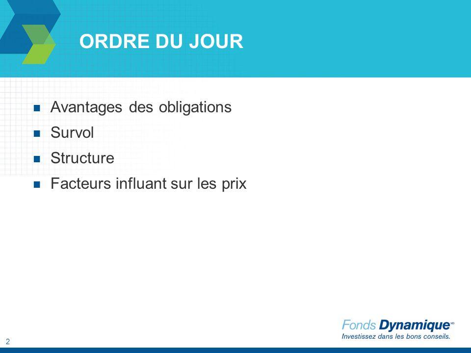 2 ORDRE DU JOUR Avantages des obligations Survol Structure Facteurs influant sur les prix