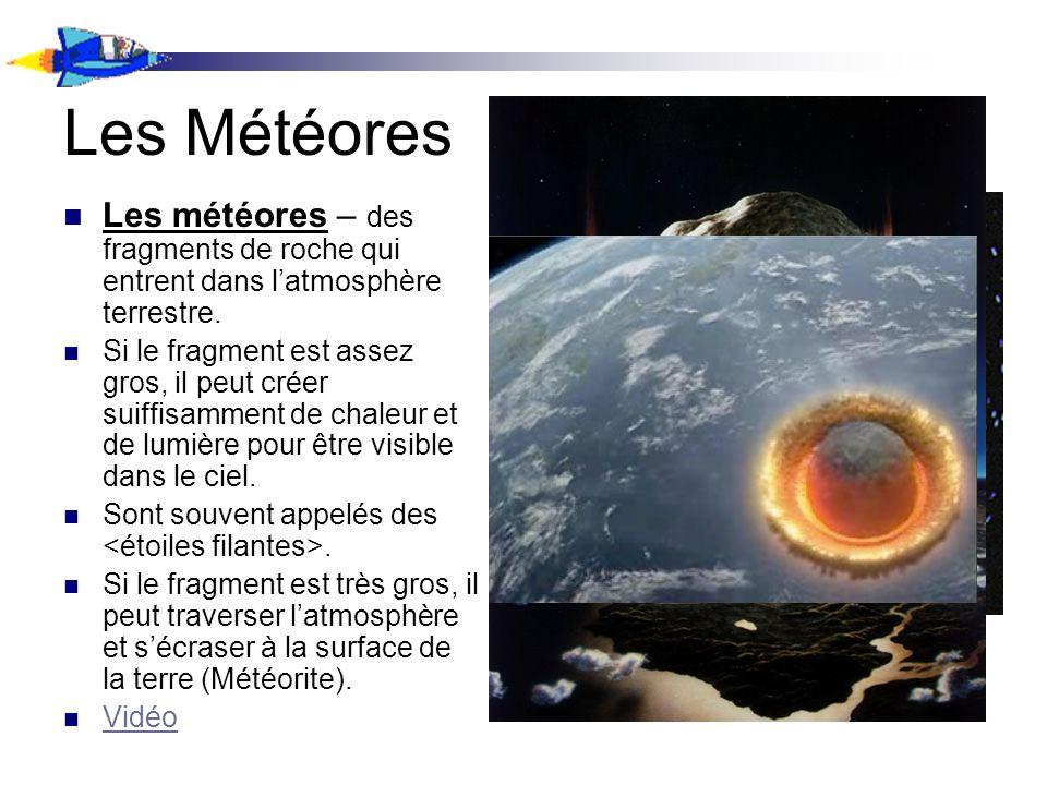 Les Météores Les météores – des fragments de roche qui entrent dans latmosphère terrestre. Si le fragment est assez gros, il peut créer suiffisamment