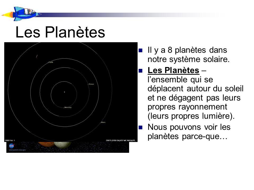 Les Planètes Il y a 8 planètes dans notre système solaire. Les Planètes – lensemble qui se déplacent autour du soleil et ne dégagent pas leurs propres