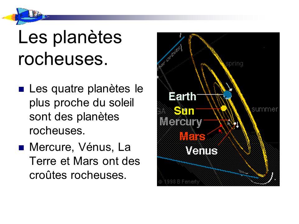 Les planètes rocheuses. Les quatre planètes le plus proche du soleil sont des planètes rocheuses. Mercure, Vénus, La Terre et Mars ont des croûtes roc