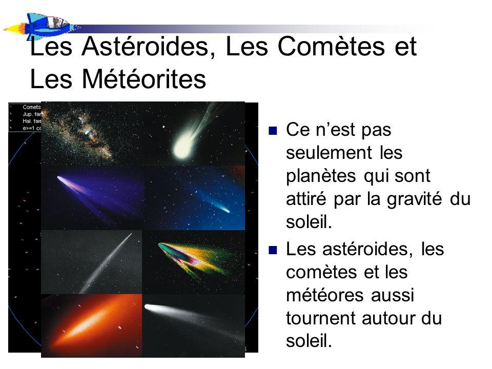 Les Astéroides, Les Comètes et Les Météorites Ce nest pas seulement les planètes qui sont attiré par la gravité du soleil. Les astéroides, les comètes