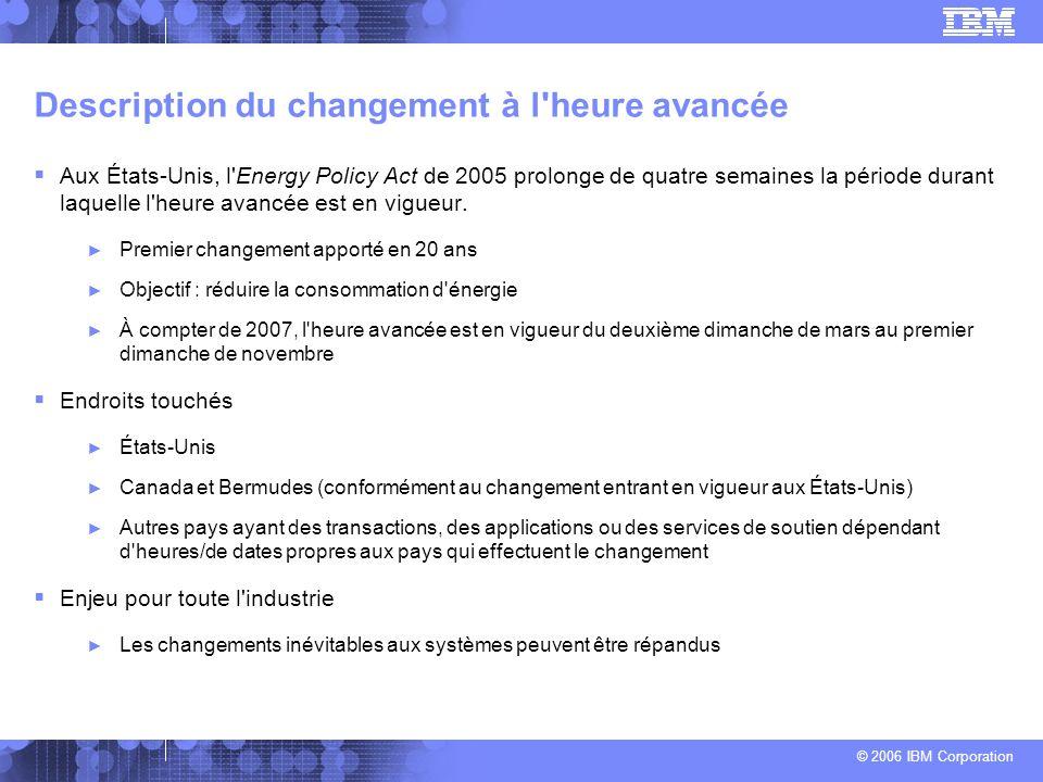 © 2006 IBM Corporation Description du changement à l'heure avancée Aux États-Unis, l'Energy Policy Act de 2005 prolonge de quatre semaines la période