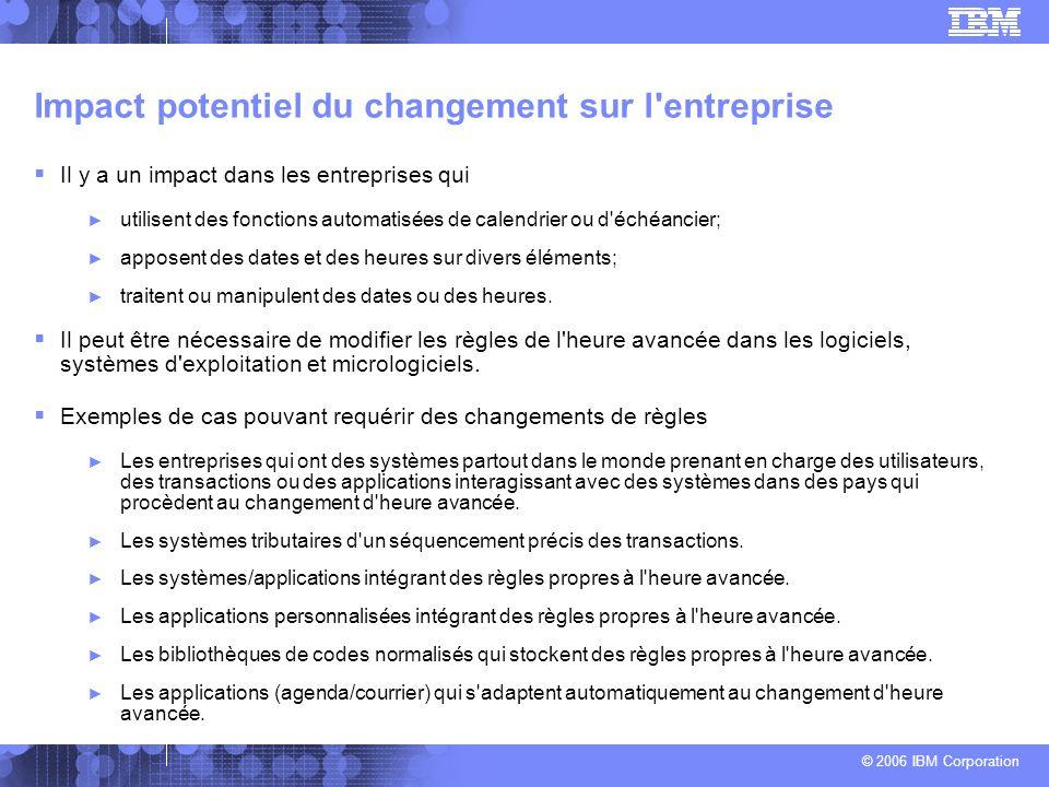 © 2006 IBM Corporation Impact potentiel du changement sur l'entreprise Il y a un impact dans les entreprises qui utilisent des fonctions automatisées