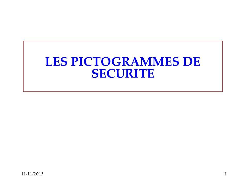 11/11/20131 LES PICTOGRAMMES DE SECURITE