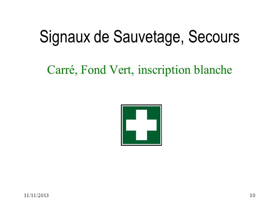 11/11/201310 Signaux de Sauvetage, Secours Carré, Fond Vert, inscription blanche