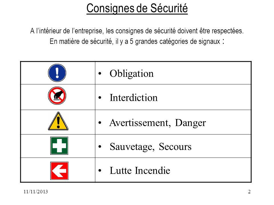 11/11/20132 Consignes de Sécurité A lintérieur de lentreprise, les consignes de sécurité doivent être respectées. En matière de sécurité, il y a 5 gra