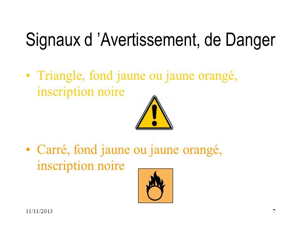 11/11/20137 Signaux d Avertissement, de Danger Triangle, fond jaune ou jaune orangé, inscription noire Carré, fond jaune ou jaune orangé, inscription