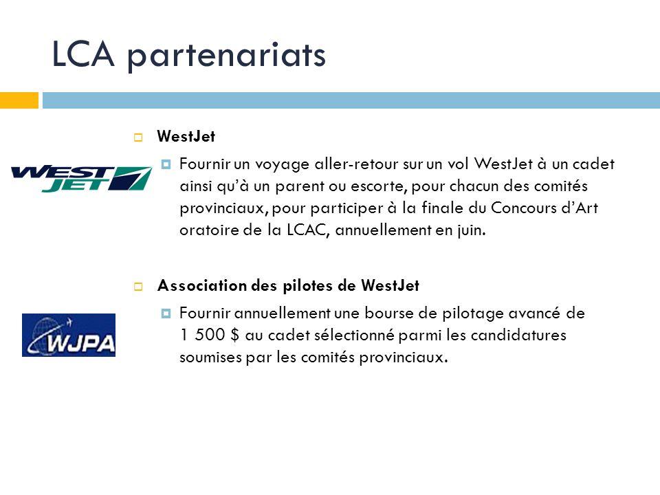 LCA partenariats WestJet Fournir un voyage aller-retour sur un vol WestJet à un cadet ainsi quà un parent ou escorte, pour chacun des comités provinciaux, pour participer à la finale du Concours dArt oratoire de la LCAC, annuellement en juin.