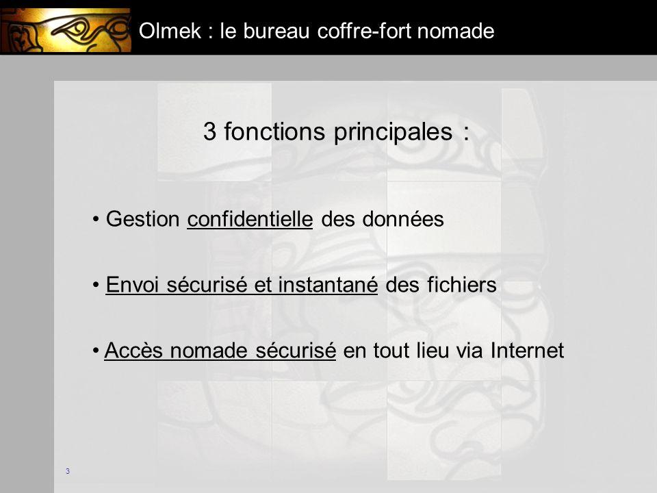 3 Olmek : le bureau coffre-fort nomade 3 fonctions principales : Gestion confidentielle des données Envoi sécurisé et instantané des fichiers Accès nomade sécurisé en tout lieu via Internet