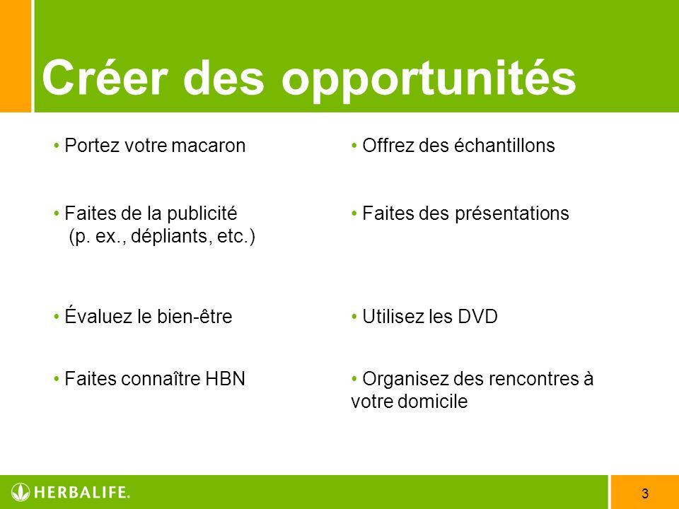 3 Créer des opportunités Portez votre macaron Offrez des échantillons Faites de la publicité (p.