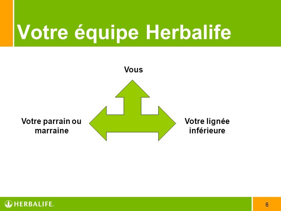6 Votre équipe Herbalife Votre lignée inférieure Votre parrain ou marraine Vous