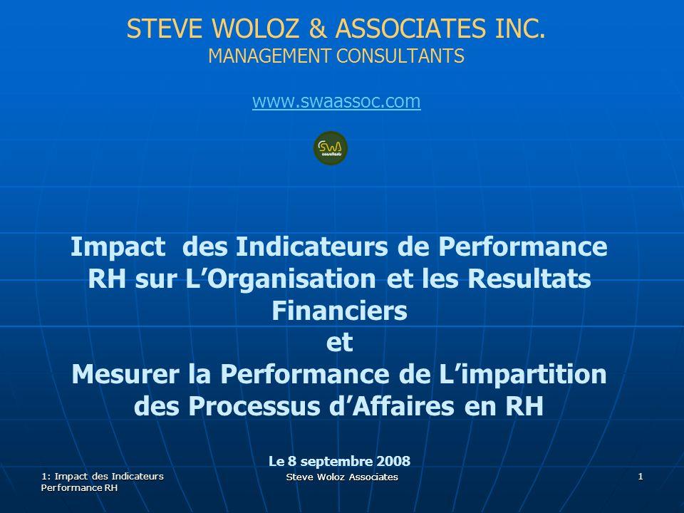 Steve Woloz Associates Revision #2 Steve Woloz Associates 12 Identification des Indicateurs 1.