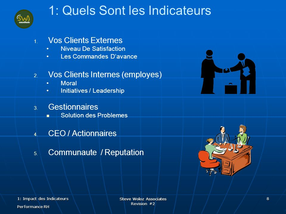 Steve Woloz Associates Revision #2 Steve Woloz Associates 8 1: Quels Sont les Indicateurs 1.