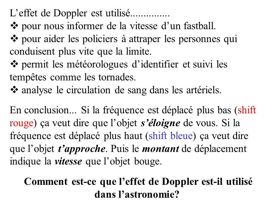 Doppler Effect La déplacement des longueurs des ondes peuvent apparaître avec les sons et aussi avec la lumière.