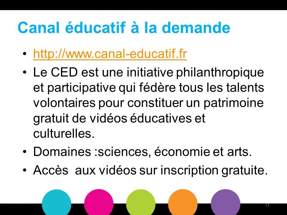 Canal éducatif à la demande http://www.canal-educatif.fr Le CED est une initiative philanthropique et participative qui fédère tous les talents volontaires pour constituer un patrimoine gratuit de vidéos éducatives et culturelles.