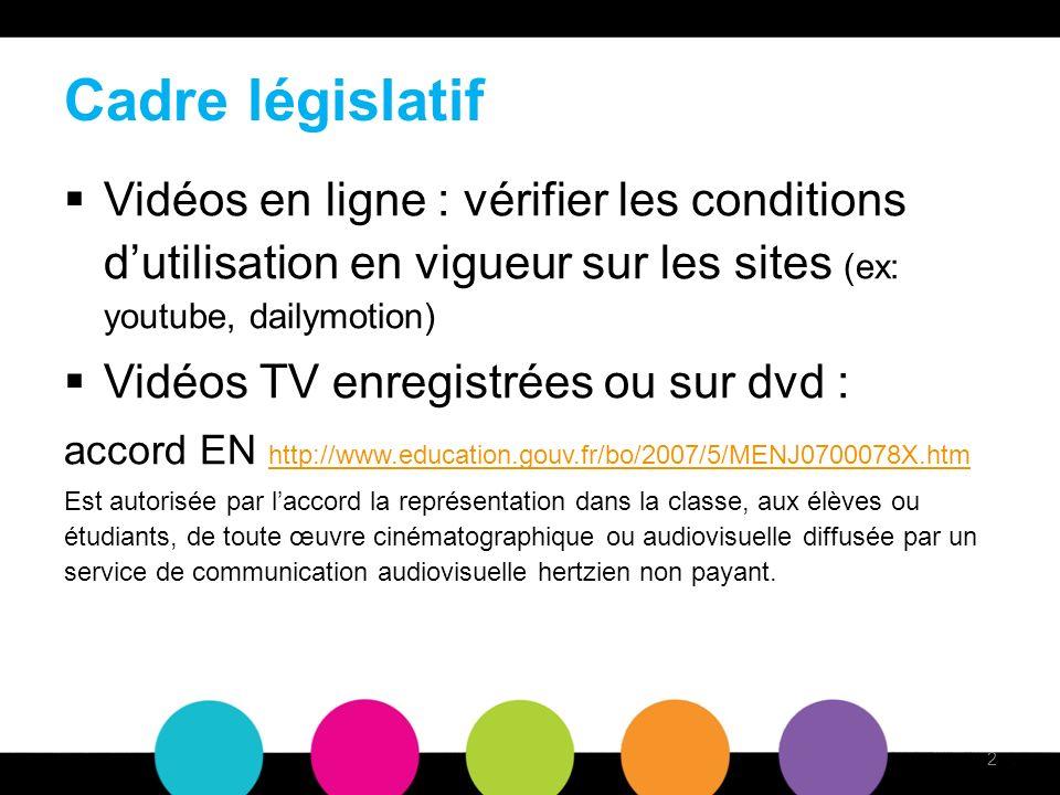 Cadre législatif Vidéos en ligne : vérifier les conditions dutilisation en vigueur sur les sites (ex: youtube, dailymotion) Vidéos TV enregistrées ou sur dvd : accord EN http://www.education.gouv.fr/bo/2007/5/MENJ0700078X.htm http://www.education.gouv.fr/bo/2007/5/MENJ0700078X.htm Est autorisée par laccord la représentation dans la classe, aux élèves ou étudiants, de toute œuvre cinématographique ou audiovisuelle diffusée par un service de communication audiovisuelle hertzien non payant.
