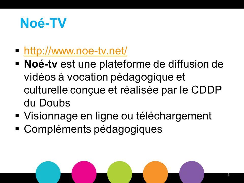 Noé-TV http://www.noe-tv.net/ Noé-tv est une plateforme de diffusion de vidéos à vocation pédagogique et culturelle conçue et réalisée par le CDDP du Doubs Visionnage en ligne ou téléchargement Compléments pédagogiques 4